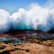 Large wave breaking against the shore - Stock Photo