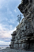 Rugged rocky cliff formation at the sea — Стоковое фото