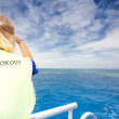 Stock Photo: Lookout on board dive ship
