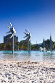 Beach and Fish Sculptures in Cairns — Stock Photo