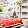 Old vintage red American car in Miami Beach — Stock Photo #45430421
