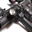 Part of AR15 carbine with tactical flashlight — Stock Photo