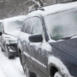 Snow-covered cars — Stock Photo