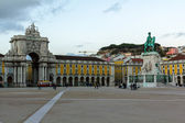 Commerce Square, arc, Lisbon downtown — Stock Photo