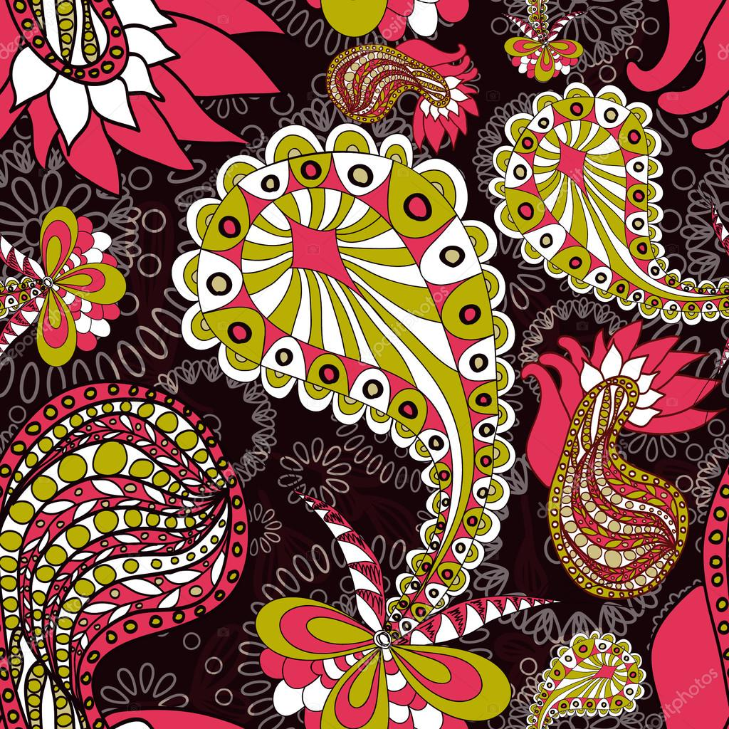 Abstract seamless vector pattern with paisley  — Stock Vector #14440003