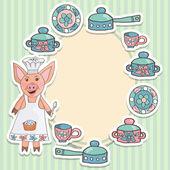Piglet cook — Stock Vector
