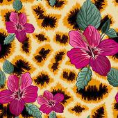Fiori e foglie tropicali — Vettoriale Stock