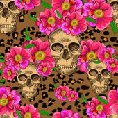Skulls and flowers — Stock Vector
