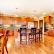 Luxury large cherry wood kitchen with green and yellow. - Stock Photo