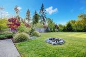 Large green backyard with beautiful landscape. — Stock Photo