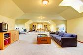 Sala grande com tv, desporto e jogos. casa interior. — Foto Stock