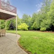 Backyard of the houes with porch and green forest. - Stock Photo