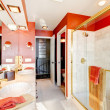 Bathroom with red walls and walk-in shower. — Stock Photo