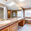 Large luxury bathroom with red granite countertops and tub. - Stock Photo