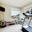 Home gym with equipment, weights and TV. — Stock Photo #13894637