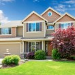 American beige luxury large house front exterior. - Stock Photo