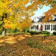 Classic New England American house exterior during fall. — Stock Photo #13896864