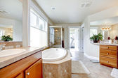 Large bathroom with tub , double sinks and wood cabients. — Stock Photo
