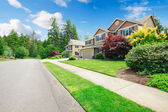 Beautiful American street with walkway and large houses. — Stock Photo