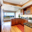Apartment kitchen with water view and granite. — Stock Photo