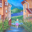 Постер, плакат: Italy and little girl original oil painting on canvas