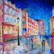 London painted in colorful oil painting. — Stock Photo