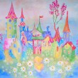 Painting of dream baby city with flowers and feiry tale buildings. - Stok fotoğraf