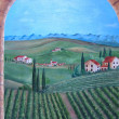 Tuscany fields. Painting. oil on canvas. - Stock Photo