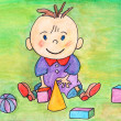 Baby playing with toys. Kids art. Original hand drawing. Watercolor. — Stock Photo