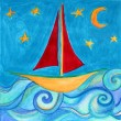 Royalty-Free Stock Photo: Kids drawing of sailing ship and moon.
