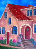 House craftsman exterior painting. oil on canvas. — Stockfoto