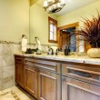 Stock Photo: Luxury bathroom cabinets in mountain home.