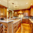 Luxury wood kitchen with granite countertop. — Stock Photo #16487721