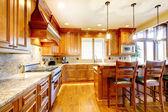 豪华山家用木厨房与岛屿. — 图库照片