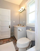 GREY and white small bathroom. — Stock Photo