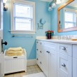 Stock Photo: Blue and white bathroom with lots of storage space.