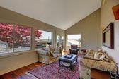 Ampio soggiorno con divano, tv e pareti marrone. — Foto Stock