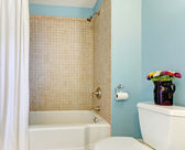 Blue bathroom with tub and shower. — Stock Photo