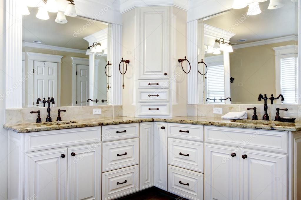 Luxury large white master bathroom cabinets with double for White stock cabinets