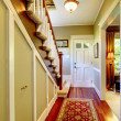 Stock Photo: Home classsic decor hallway with entrance front door.