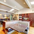 Luxury mahogany Kitchen with modern furniture. — Stock Photo #18287651