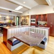 Luxury mahogany Kitchen with modern furniture. — Stock Photo