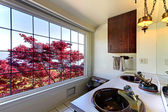 Old antique bathroom with red maple and double sinks. — Stock Photo