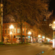 Pioneer square in Seattle at early spring night. Empty street. - Zdjęcie stockowe