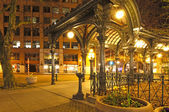 Pioneer square in Seattle at early spring night. Empty street. — Stock Photo