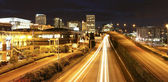 Tacoma downtown at night with highway, court house and busines center. — Stock Photo