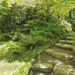 Japanese Garden in Seattle, WA. Stone trail in the woods. - Stock Photo