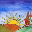 Painting of land with castles. Happy children magic world with sun, cute fairy tale homes. — Stock Photo