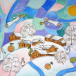 Painting. Abstract Slavic folk winter Christmas with angels and village covered in snow. — Photo