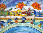 Painting of rain and snow with under umbrellas on the bridge. — Stock Photo
